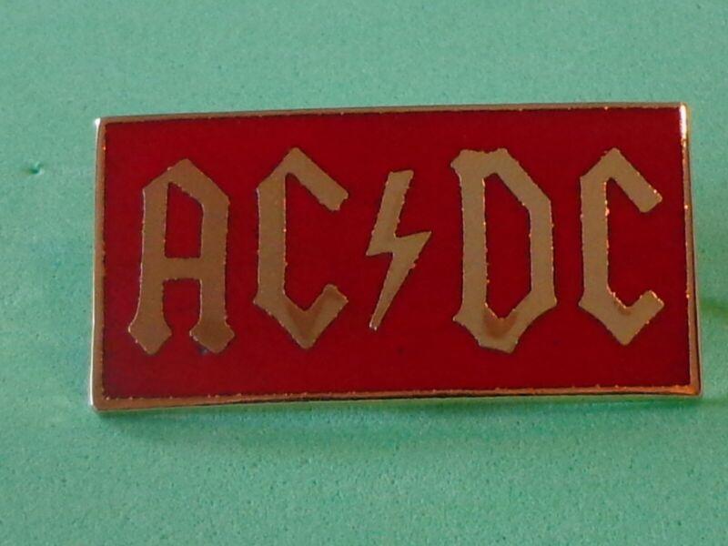 ACDC AC/DC Vtg Tour Pin Brooch Back Metal Enamel Pinback Rock Red Gold Badge