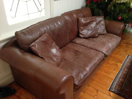 Free brown leather couch