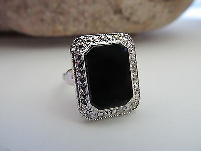 Vintage Sterling Theda Onyx Marcasite Art Deco Style Ring