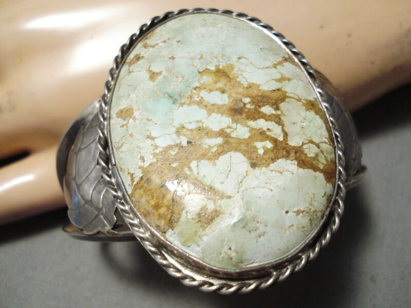 ONE OF THE BEST VINTAGE NAVAJO EARLY #8 TURQUOISE STERLING SILVER BRACELET OLD