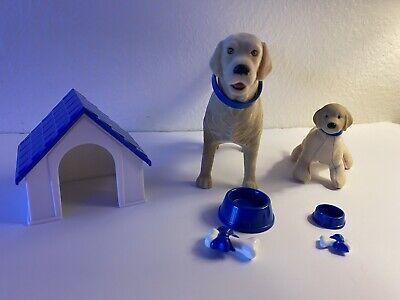 Vintage Barbie Pet Lovin Set 2 Golden Retrievers Dog House Bowls Bones 1998 New