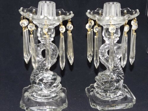 2 Cambridge Glass Dolphin Candelabras Boboches Prisms MINT