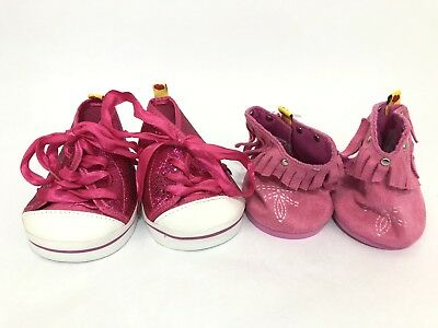 Build A Bear Lot of 2 Shoes Sparkly Pink High Tops Sneakers & Pink Cowgirl Boots (Sparkly Cowgirl Boots)
