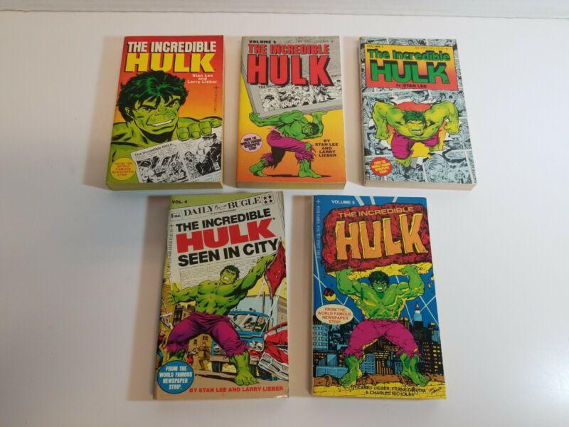 Incredible Hulk Tempo Books Lot Of 5 Newspaper Strip Paperbacks Stan Lee&Lieber