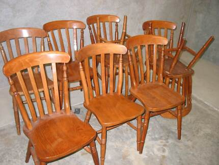 DINNING CHAIRS TIMBER COTTAGE STYLE SOLID 9x VARIOUS Condell Park Bankstown Area Preview