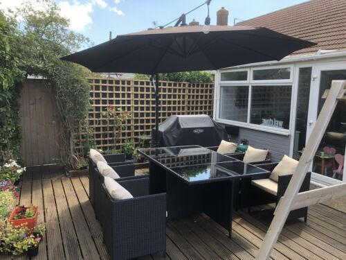 Garden Furniture - rattan garden furniture 6 Seater Cube Set Black With Cream Cushions