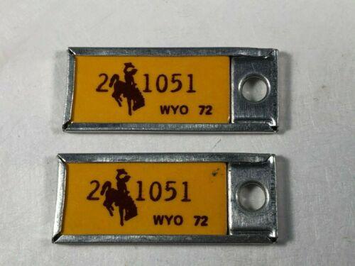1972 Wyoming License Plate DAV Key Chain Tag Matching Pair