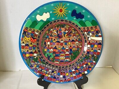 Painted Clay Round Plate Mexican Children People Hanging