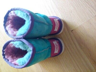 ✅ UGG Australia Sheepskin Kids Patchwork Purple Pink Green Boots size 10 / 27.