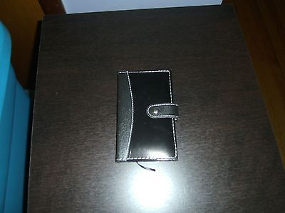 (New) Faux Leather Pocket Notebook with pen--Black