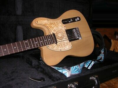 NATURAL 12 STRING HARD BODY ELECTRIC GUITAR WITH STRAP CASE & CUSTOM PICK GUARD
