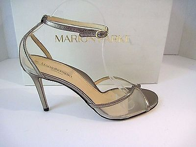 "Marion Parke NIB $595 Antique Gold Leather ""Lolita"" Ankle Strap Sandals Size 41"