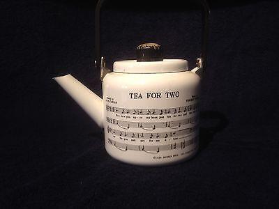 """1979 M. Kamenstein """"Tea for Two""""  White Enamel Tea Kettle Tea Pot Excellent Cond"""