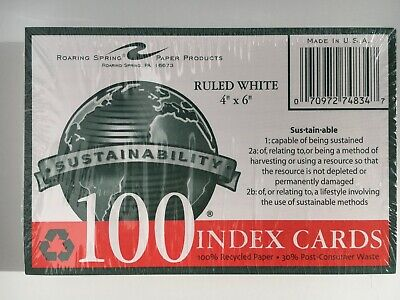 Roaring Spring Sustainability Ruled White 4x6 In 100 Count Index Cards