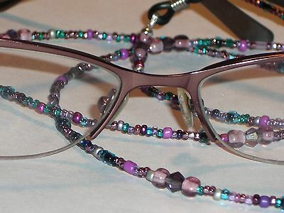 "Eyeglass Chain~Purple Mix~28""~Crystal Accents~A Gift for Mother ~Buy 3 SHIP FREE"