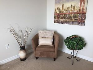 Modern brown faux suede lounge chair / home decor