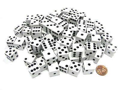 Set of 100 D6 16mm Square Corner Opaque Standard Dice - White with Black Pips 16mm Dice Standard