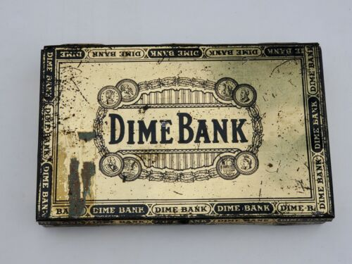 Vintage Dime Bank Cigar Tin - very used condition