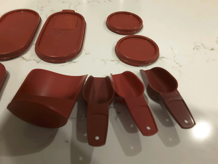 Cranberry coloured tupperware lids