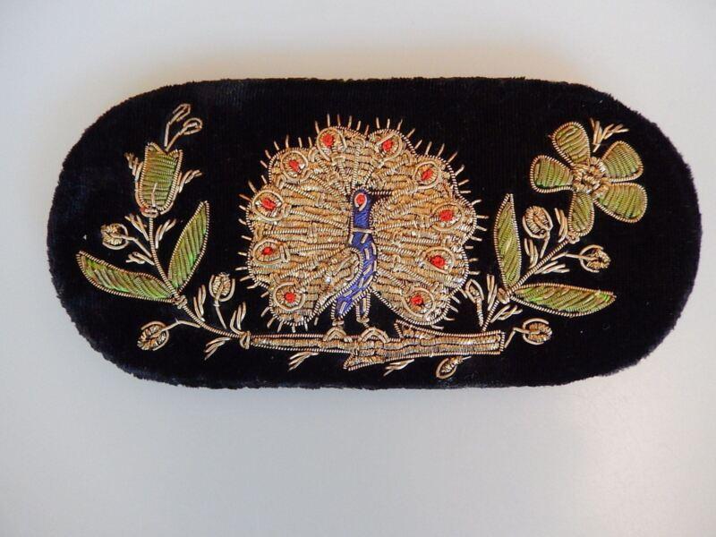 Zardozi India Metallic Thread Embroidered Peacock on Black Velvet Eyeglass Case