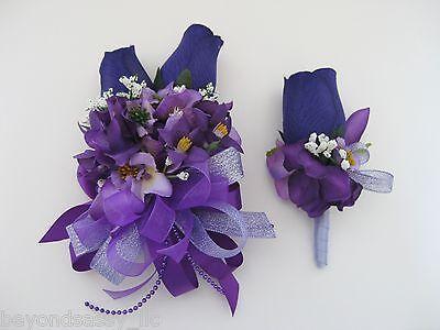 Wedding Prom Metallic Lavender Purple Flower Wrist Corsage or w/ Boutonniere -