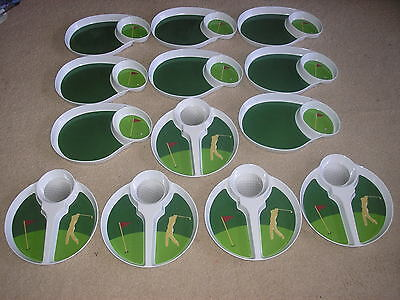 Used Lot of 13 Melamine Golf Trays Serving Trays and Chip and Dip Trays Party