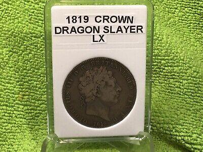 1819 CROWN LX DRAGON SLAYER ( BRITISH ) 0.9250 SILVER in BCW SLAB FREE SHIPPING