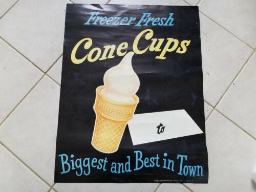 "VINTAGE FREEZER FRESH CONE CUPS ICE CREAM ADVERTISING POSTER 28""x22"""
