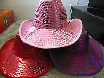 Sequin Cowboy Hat ( Choose  PURPLE, PINK, RED, Black, silver )