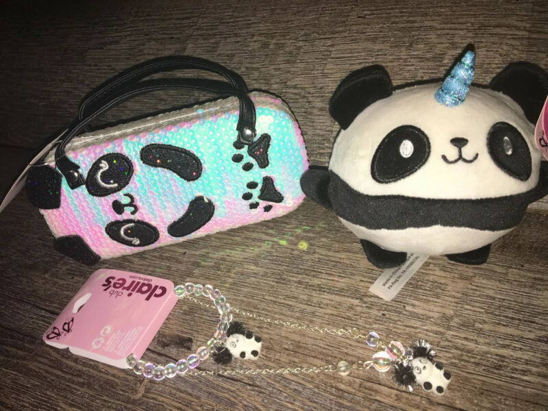 Claire's Sequin Panda Sunglasses Glasses Case Purse Unicorn Plush Jewelry Lot