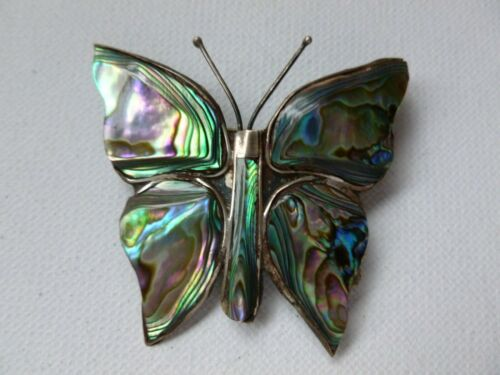 Beautiful Vintage Sterling Silver 925 Abalone Butterfly Brooch