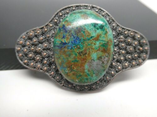Vintage Natural Azurite Gemstone Silver Plated Copper Ornate Chinese Brooch