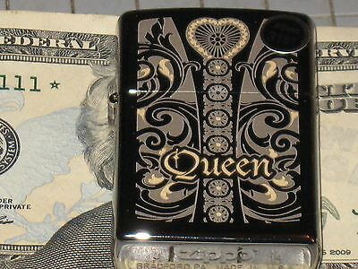 New ZIPPO Windproof Lighter Queen w Heart Black Ice Love Gift Wife Girl Friend