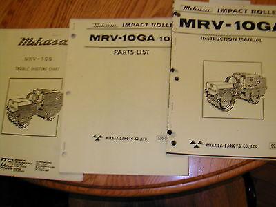 Mikasa Mrv-10ga Impact Roller Operation Maintenance Manual Parts Book Compactor