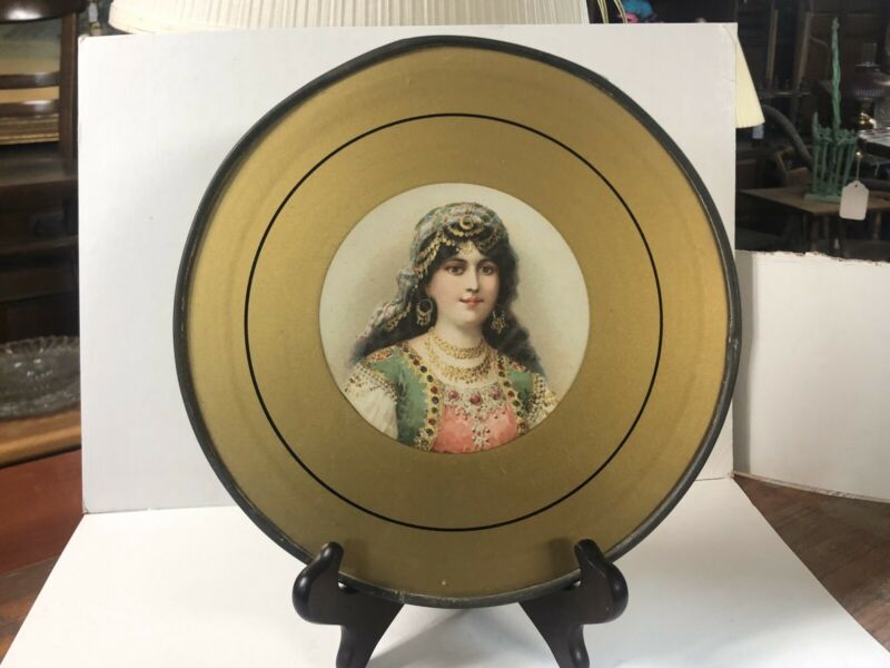 Vintage Antique Flue Cover Wall Hanging Victorian Gypsy Lady Print 9 1/2""
