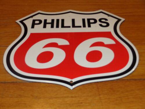 """VINTAGE PHILLIPS 66 RED SHIELD 13"""" BY 11 3/4"""" PORCELAIN METAL GASOLINE OIL SIGN!"""