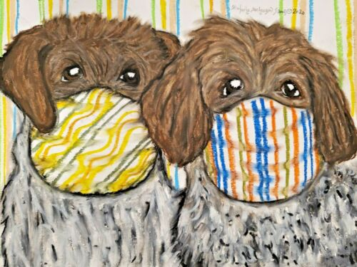 Wirehaired Pointing Griffon Original 9 x 12 Painting Vintage Style Dog Art