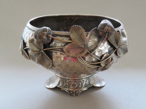 RARE WILLCOX SILVER PLATE VICTORIAN FOOTED BOWL WITH STRAWBERRIES - 19TH CENTURY