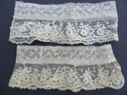 Antique Vtg Pair French LACE Cuffs Tiny Small Scale Valenciennes Doll Dress Hat