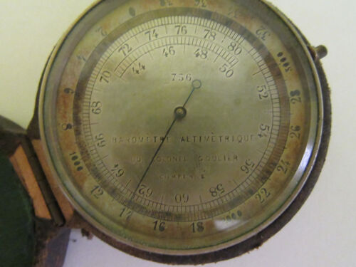 Rare Antique Baromètre altimétrique du colonel Goulier barometer W leather case