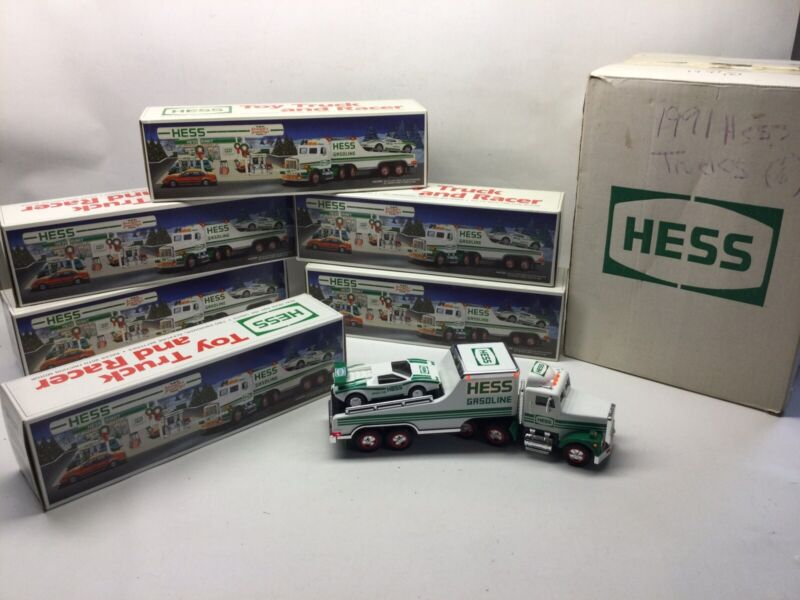 1991 Case Of (6) Hess Toy Truck And Racer In Boxes