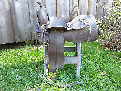 Rare Antique Knox & Tanner Co. High Back Horse Saddle Rawlins Wyo. w/ Stirrups