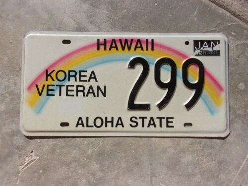 Hawaii  2012 Korea Veteran license plate #  299