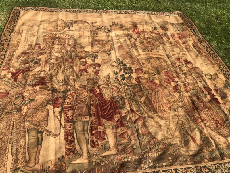 Huge Antique French Tapestry Knight, Dog, King, Castle