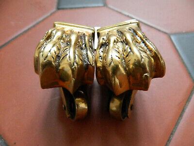 Antique Original Victorian Pair Brass Lion Feet Castors