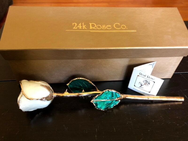 Forever Rose, a Genuine Real Rose, Hand Dipped in 24K Gold. White