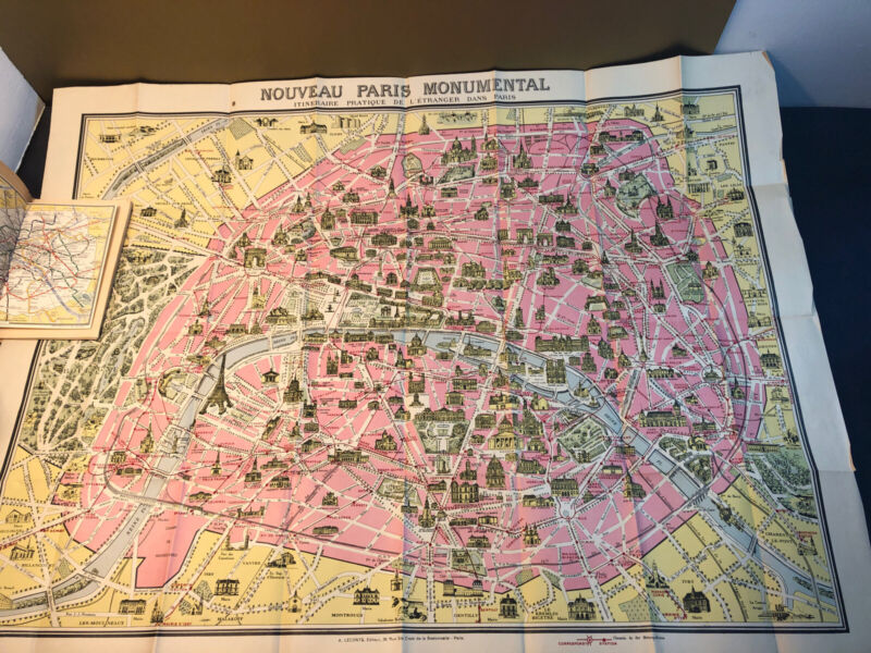 VINTAGE c 1946 LECONTE  PARIS Double Sided MAP & Booklet NICE!
