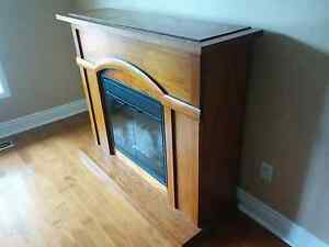 Wooden Mantle and Electric Fireplace
