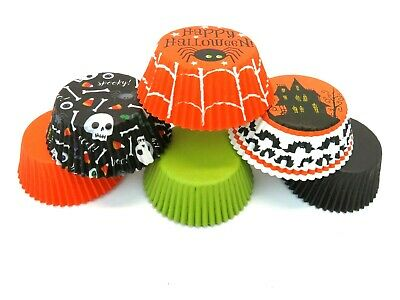 Halloween Cupcake Liners 100 Baking Cups Spider Skulls - Halloween Cupcake Liner