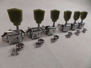 Guitar Tuners For LP SG Machine Heads x 6 Vintage Tulip Style 3L + 3R Chrome New